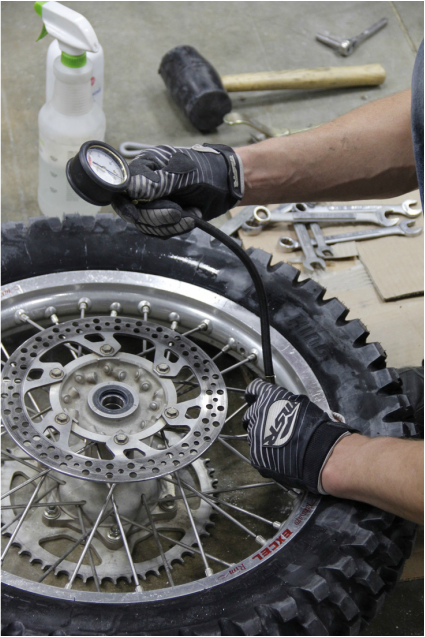 inflate the tire to full pressure and seat the bead against the rim