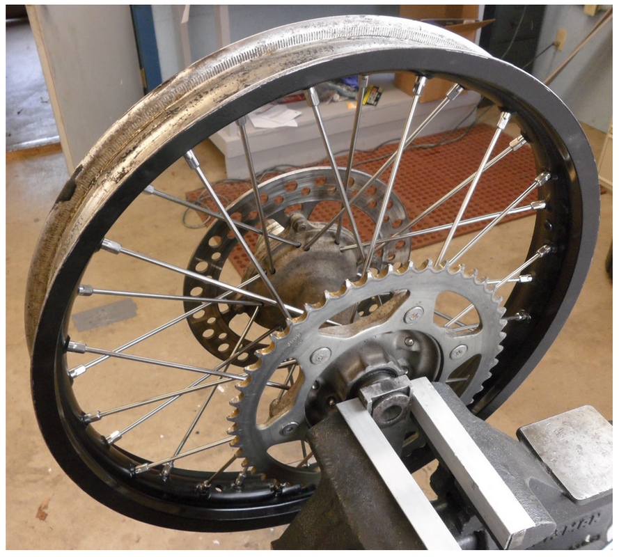 Example of a correctly trued dirt bike wheel rim
