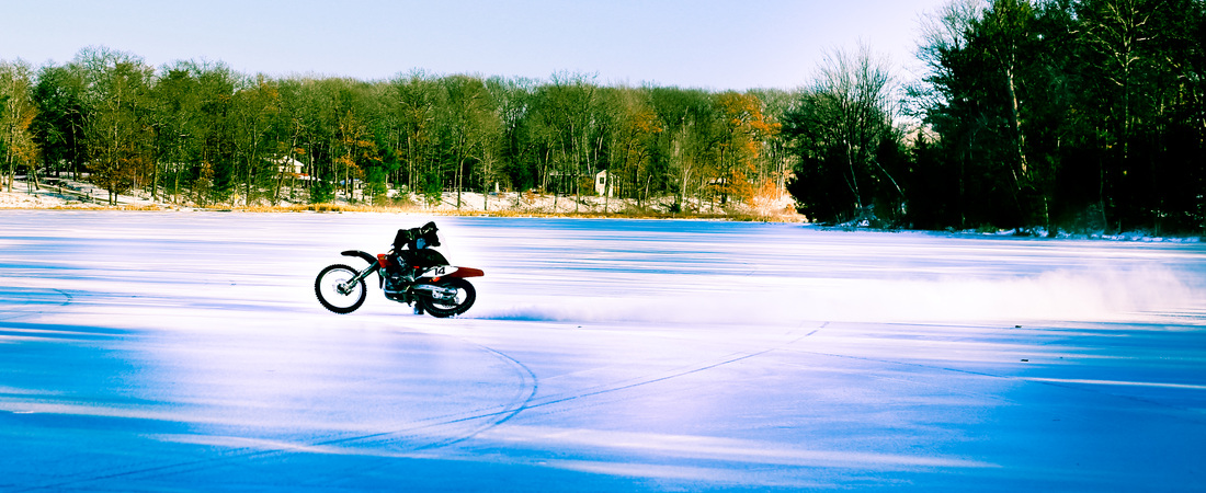 motorcycle ice riding slide