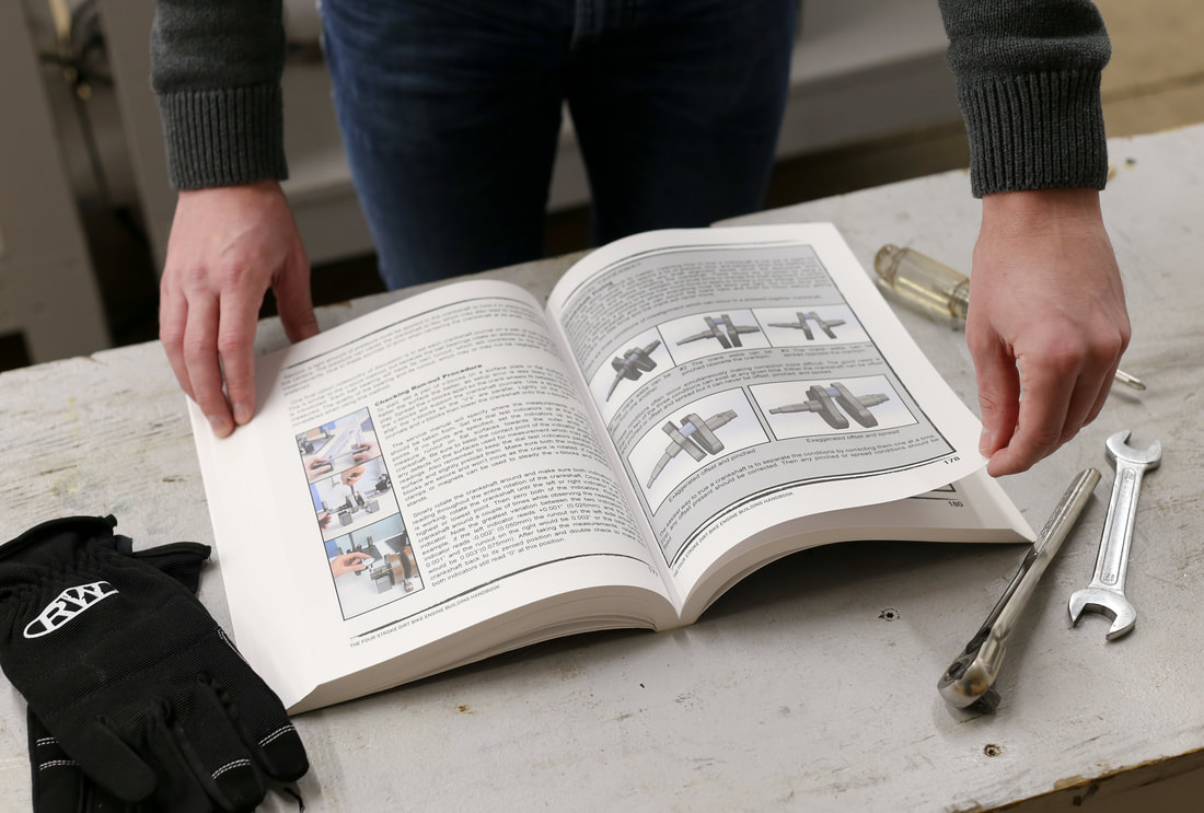 The interior pages of The Four Stroke Dirt Bike Engine Building Handbook