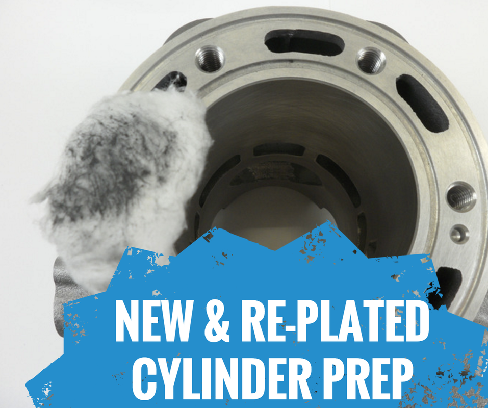 New and re-plated cylinder prep for a dirt bike